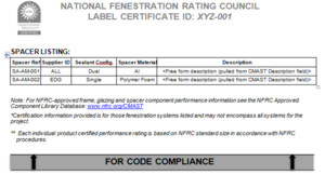 NFRC Label Certificate Example Page 3