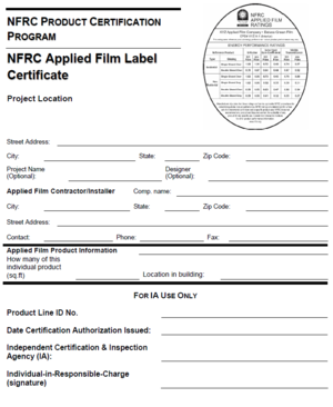 NFRC Applied Film Label Certificate Example