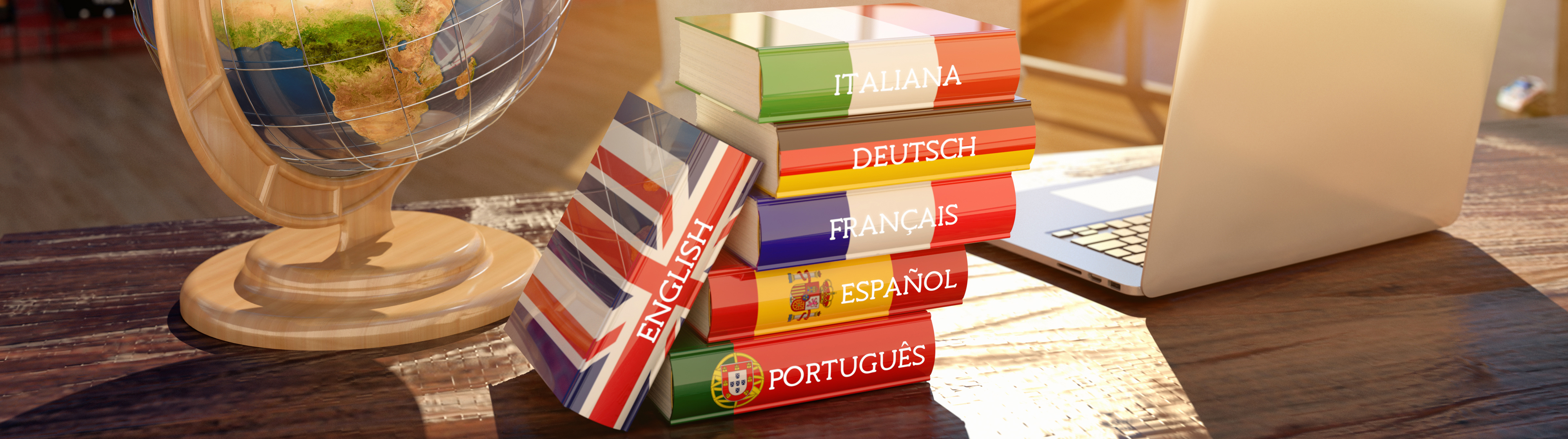 Stacks of books in different languages