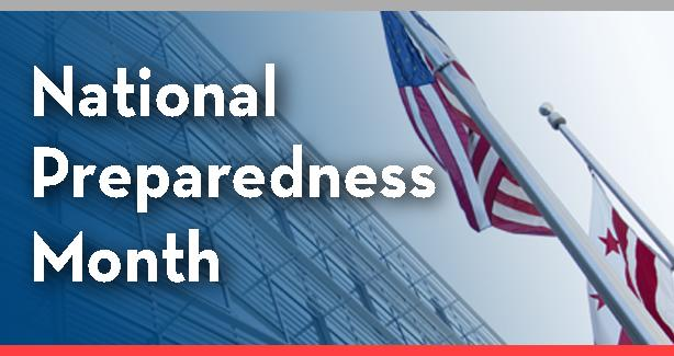 US flag with text: National Preparedness Month