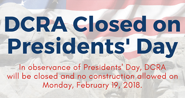 DCRA Closed on President's Day