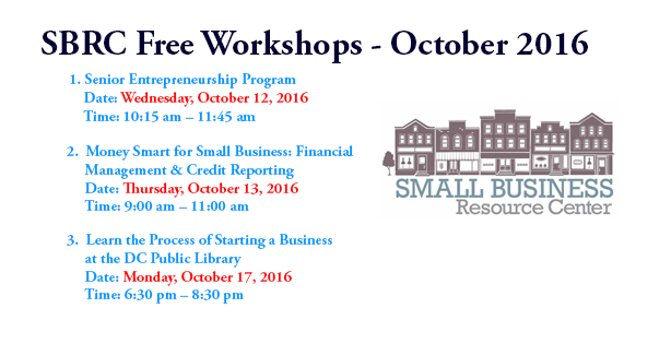 Small Business Resource Center (SBRC) - October 2016 Free Workshops