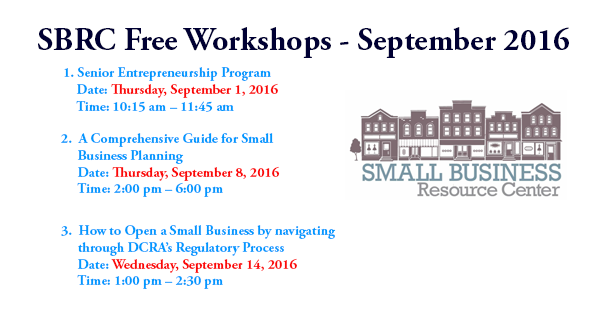 Small Business Resource Center - Free September 2016 Workshops
