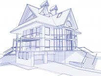 Blueprint sketching of a house